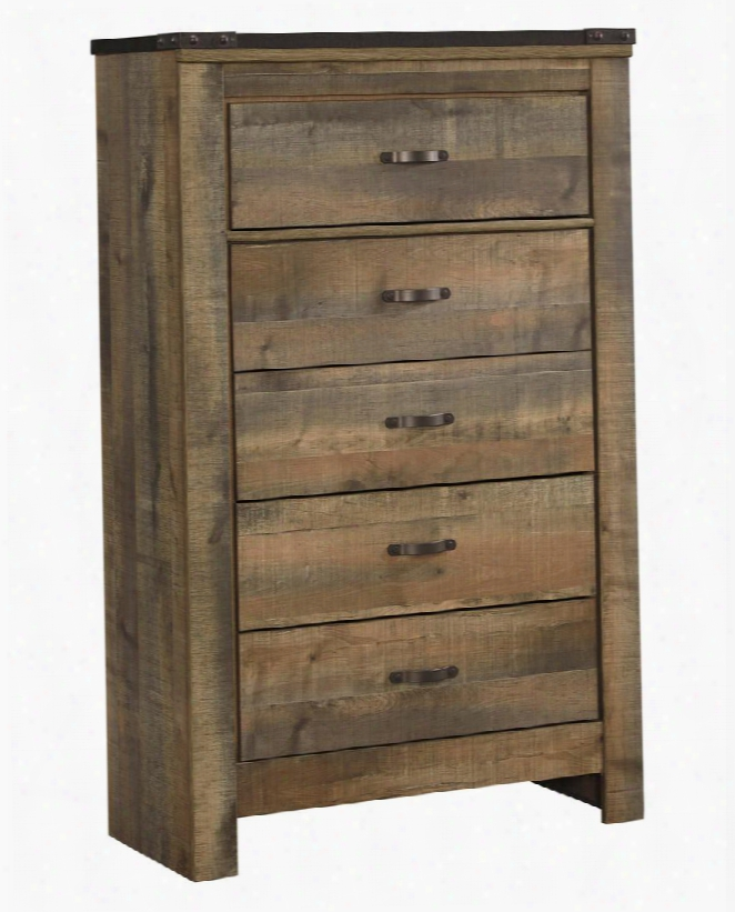 """Trinell B446-46 34.25"""" 5-drawer Chest With Replicated Oak Grain Metal Bracket Accents Plank Detailing And Side Roller Drawer Glides In"""
