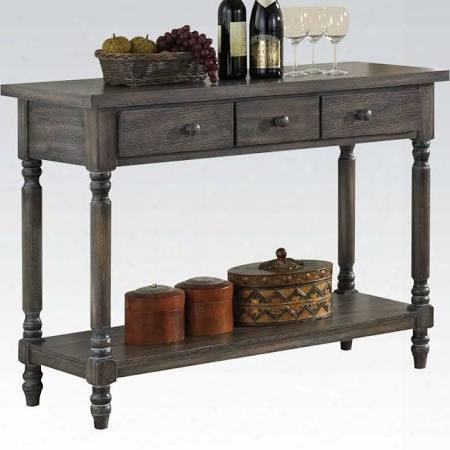 """Wallace Collection 71439 42"""" Server With 3 Drawers Bottom Shelf Metal Hardware Turned Legs Rubberwood And Oak Veneer Construction In Weathered Blue Washed"""