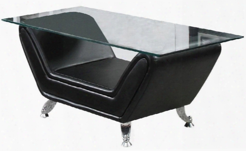 "Zahar Collection 80240 47"" Coffee Table With 12mm Tempered Clear Glass Top Metal Legs And Bonded Leather Upholstery In Black"