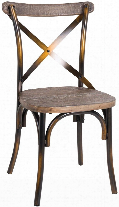 "Zaire Collection 73077 19"" Side Chair With ""x"" Metal Backrest Wooden Seat Steel And Solid Chinese Fir Wood Construction In Walnut And Antique Copper"