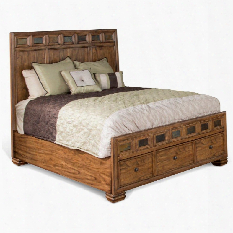 2378bm-q Coventr Queen Bed With Full-extension Drawer Slides Square Decorative Knobs And Slate Accents In Burnished Mocha