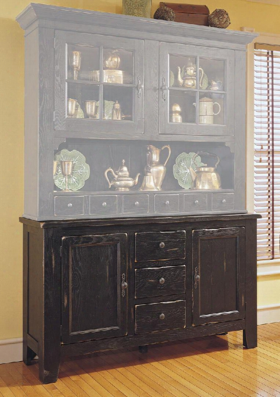 """Attic Heirlooms 5397-65bv 60"""" Wdie China Base Cabinet With 2 Doors 3d Rawers Adjustable Shelves And Silverware Tray In Antique Black"""