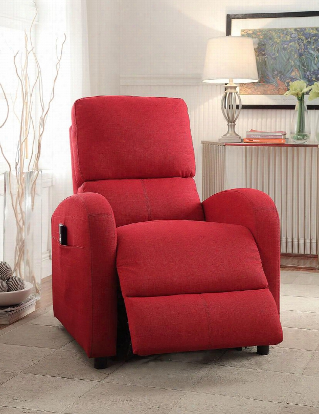 "Croria Collection 59345 19"" Recliner With Power Lift Functions Power Wired Controller Round Arms And Jute Fabric Upholstery In Red"