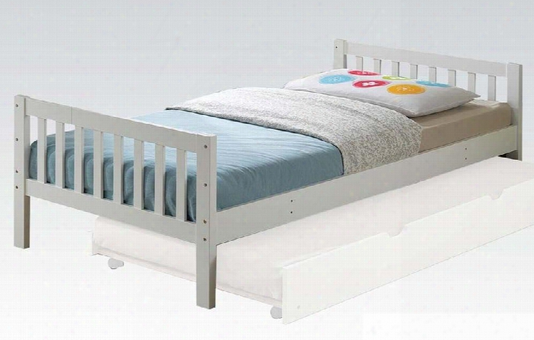 Cutie Collection 37075t Twin Size Bed With Slat Design Footboard And Headboard Slat System Included And Solid Wood Construction In White