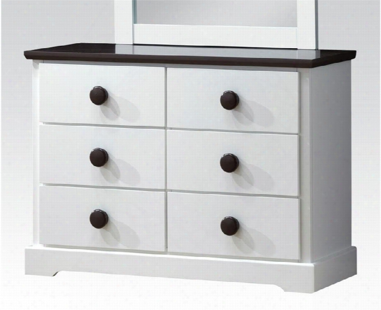 """Docila Collection 30226 39"""" Dresser With 6 Drawers Parquet Pattern Design Poplar Wood And Basswood Veneer Materials In White And Chocolate"""