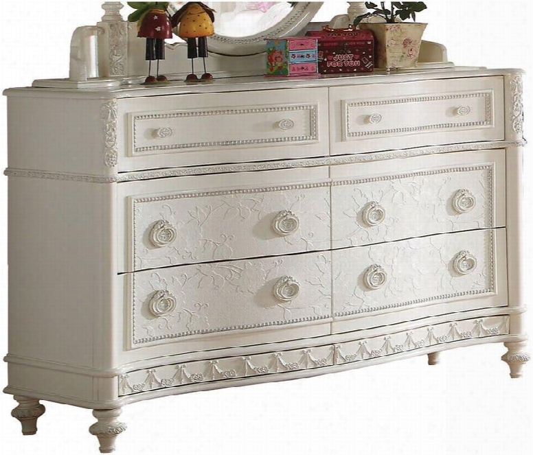 "Dorothy 30367 54"" Dresser With 6 Drawers Felt Lined Top Drawer French Dovetail Drawers And Pine Wood Construction In Ivory"