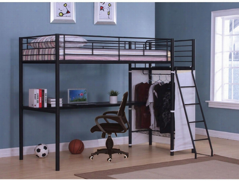 Hazra Collection 37515 Twin Size Loft Bed With Full Length Guard Rails Built-in Side Ladders Loft Desk Closet And Metal Tube Frame In Brown