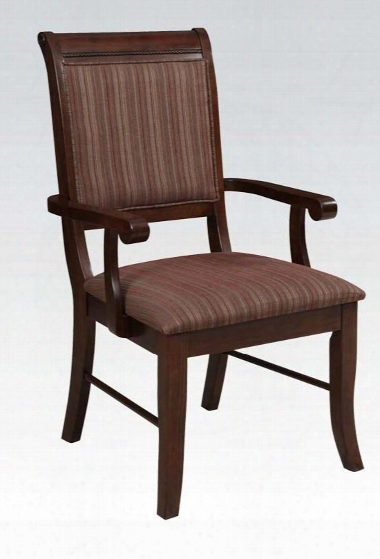 Mahavira Collection 60684 19&quo; Arm Chair With Fabric Upholstered Seat And Back Distressed Detailing And Tapered Legs In Espresso