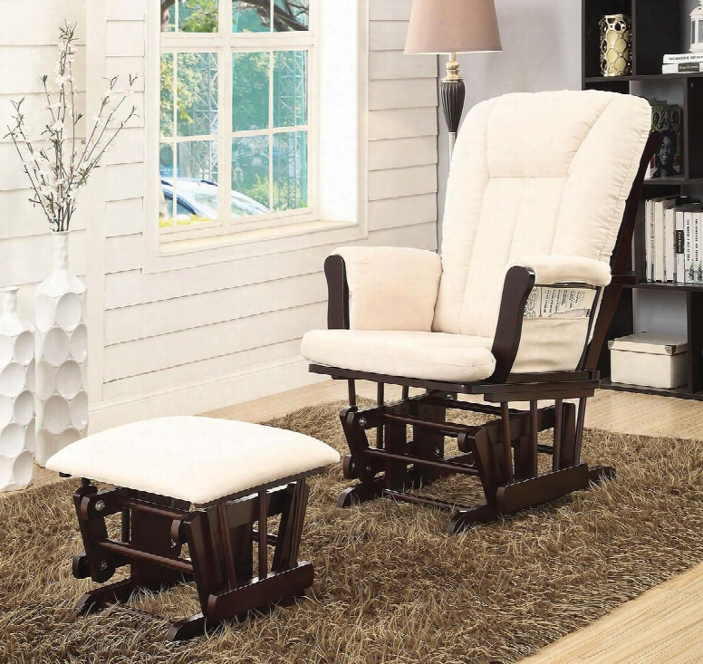 Paola Collection 59334 2 Pc Glider Chair And Ottoman With Beige Microfiber Upholstery And Rubberwood Construction In Espresso