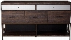 """Adrianna Collection 20955 61"""" Dresser with 5 Drawers 2 Open Compartments Metal Legs Mirror Inlay Top Drawer and Melamine Veneer Materials in Walnut"""