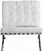 "Cordoba CORDOBADC 30"" Tufted Chair with Stainless Steel Frame Grid Pattern Design and Bonded Leather Upholstery in White"