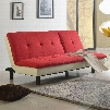 "Fralling Collection 57182 77"" Adjustable Sofa with Wood Frame Metal Legs Tight Cushions Fabric and Bycast PU Leather Upholstery in Red and Beige"