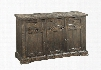 "Landon Collection 60744 63"" Server with 3 Drawers 3 Doors Metal Hardware Pine Wood and Pine Veneer Materials in Savage Brown"