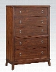 """Midway Collection 20987 36"""" Chest with 5 Drawers Cabriole Legs Felt Lined Top Drawer and Side Metal Glide Drawer in Cherry"""