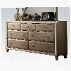 """Voeville 21005 68"""" Dresser with 7 Drawers Front Trim Mirror Inserts Pine Wood and Oak Veneer Construction in Antique White"""