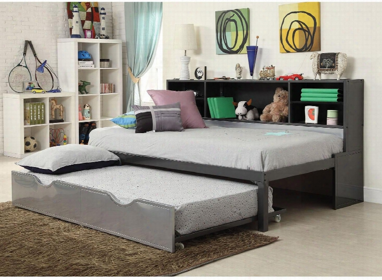 Renell Collection 37225t Twin Size Bed With Roll-out Trundle Bookcase Storage Casters Medium-density Fiberboard (mdf) And Metal Tube Material In Silver And