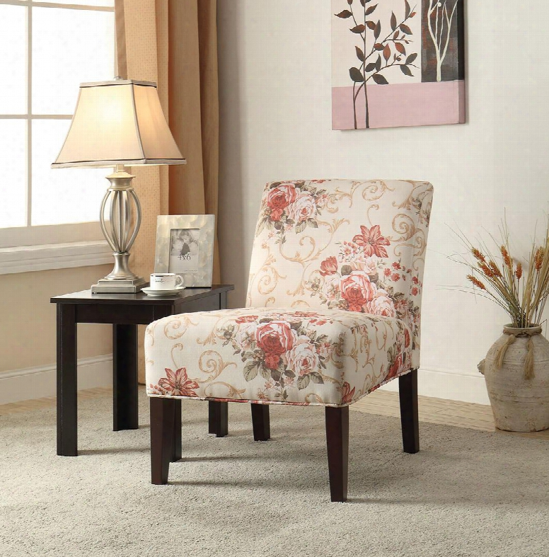 "Riston 59305 30"" Accent Chair With Espresso Tapered Legs Floral Pattern And Fabric Upholstery In Beige And Pink"