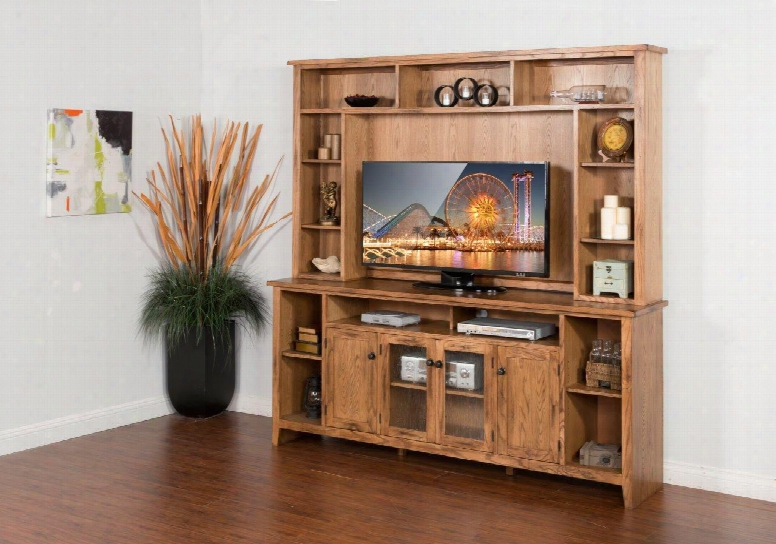 """Sedona Collection 3559ro 84"""" Entertainment Wall With 2 Glass Doors And Storage Around Whole Hutch In Rustic"""