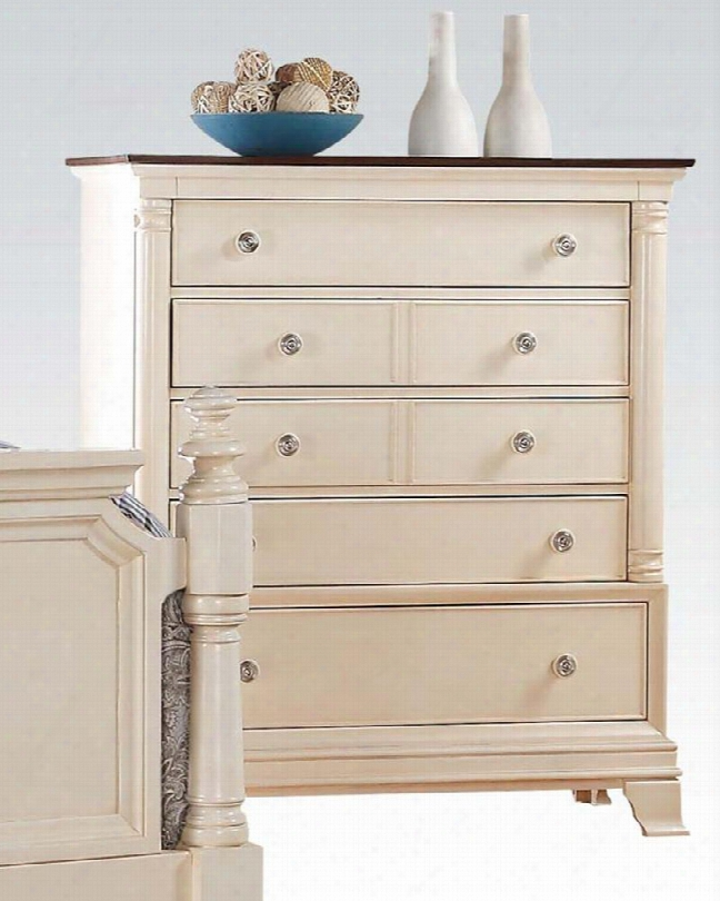 """Tahira Collection 24426 43"""" Chest In The Opinion Of 5 Drawers Metal Hardware Felt Lined Top Drawer And Side Metal Drawer Glides In Ivory"""