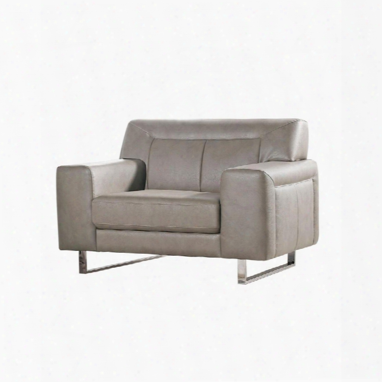 """Vera Verachss 44"""" Arm Chair With Metal Legs Chrome Accents Attached Seat/back Cushions And Leatherette Upholstery In Sandstone"""