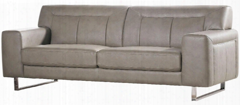 """Vera Verasoss 83"""" Sofa With Metal Legs Chrome Accents Attached Seat/back Cushions And Leatherette Upholstery In Sandstone"""