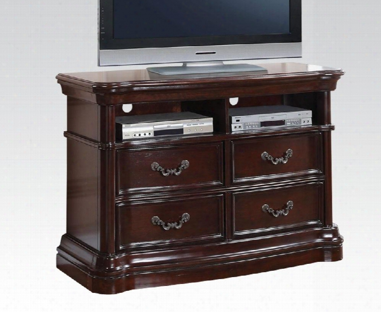 "Veradisia Collection 20638 50"" Tv Console With 4 Drawers 2 Open Compartments Holes For Wiring Metal Hardware Bentwood And Rubberwood C Onstruction In Dark"