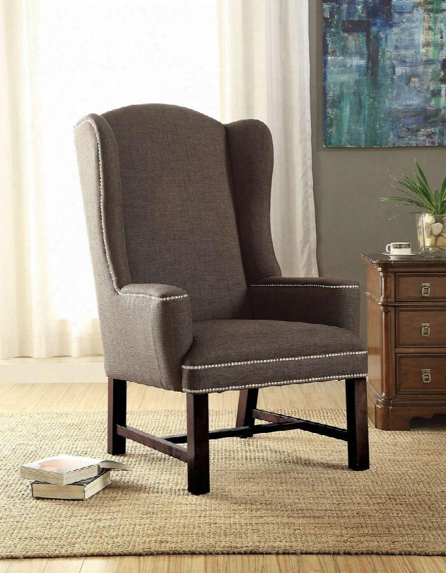"""Wells Collection 59309 30"""" Accent Chair With Wing Back Nail Head Trim Stretchers And Fabric Upholstery In Grey"""