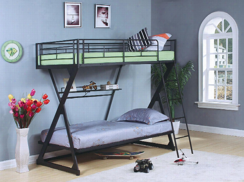 Zazie Collection 37132 Twin Over Twin Size Bunk Bed With Bookshelf Included Reversibe Ladder Easy Access Guardrail Slat System Included And Steel Tube