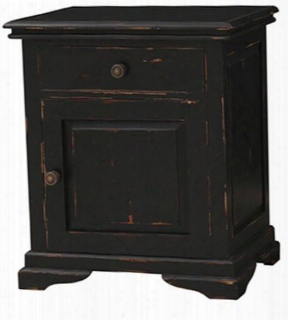 23934 Homestead Nightstand With 1 Drawer 1 Door Bracket Feet And Decorative Metal Hardware In Black Distressed
