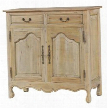 """24017 Provence 43"""" Narrow Sideboard With 2 Draawers 2 Doors Cabriole Legs And Decorative Metal Hardware In Drift Wood"""