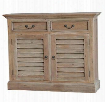 24155 Cottage Shutter Narrow Sideboard With 2 Drawers 2 Doors And Decorative Metal Pull In Drift Wood