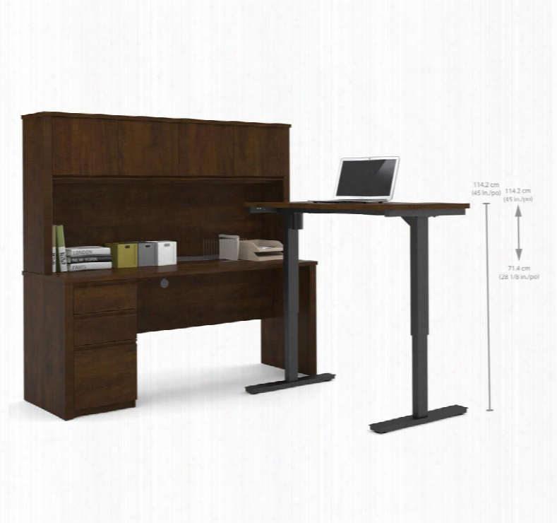 99886-69 Prestige + L-desk With Hutch Including Electric Height Adjustable Table In