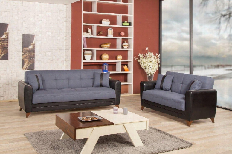 Bella Vista Bevisblsgy Package Including Convertible Sofa And Love Seat With Pillows Storage Under The Seats Tapered Legs And Two Tone Color Pattern In Prusa