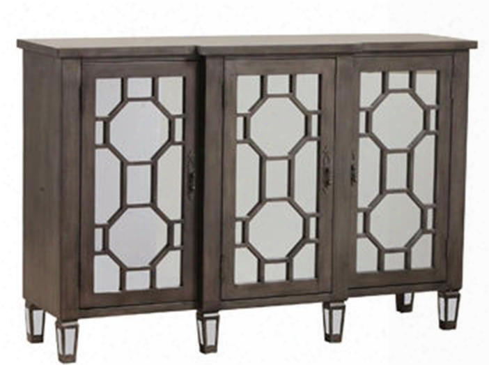 """Bombay  Collection 14bo8053 54"""" Console With Three Mirrored Doors Hexagon Fret Overlay And Tapered Legs In"""