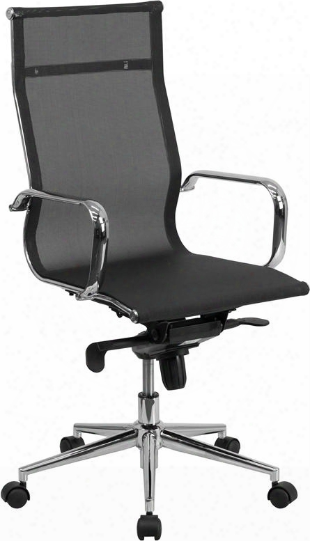 Bt-2768h-gg High Back Black Mesh Executive Swivel Office Chair With Synchro-tilt