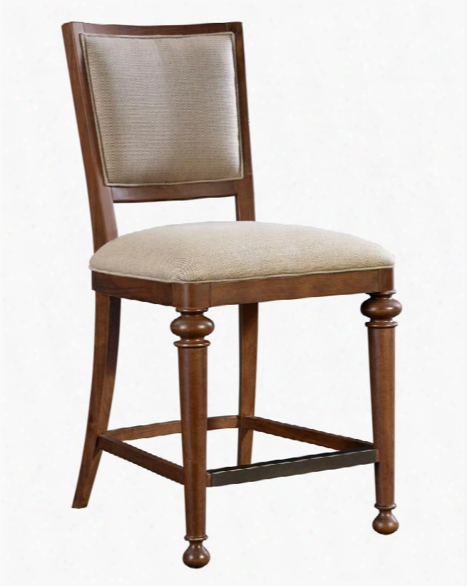 """Cascade 4940-591 25.25"""" High Upholstered Counter Stool With Metal Cover On Footrest Barley Colod Fabric Upholstery And Turned Front Legs In"""