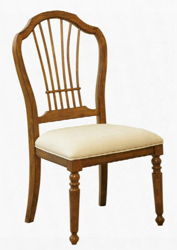 """Creswell 4818-581 21"""" Wide Upholsteerd Side Chair With Fabric Seat Cushion Turned Front Legs And Tapered Back Legs In Distressed Cherry"""