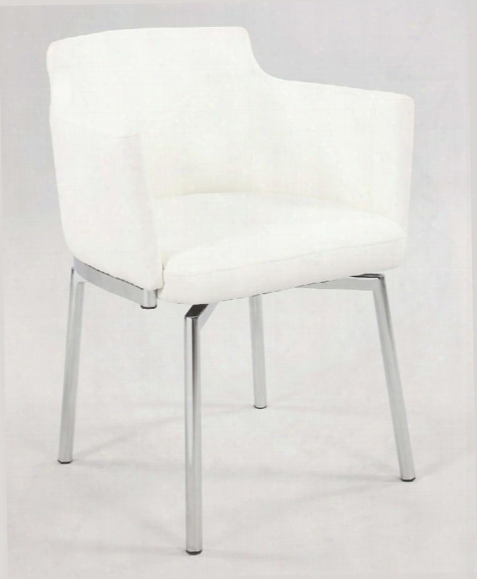 Dusty Dusty-ac-wht-kd Club Style Swivel Arm Chair Made With Metal Leatherette Upholstered Back And Seat Finish In