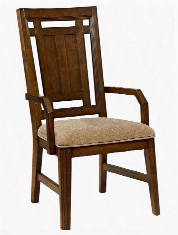 "Estes Park 4364-580 22.875"" Wide Upholstered Arm Chairs With Fabric Seat Cover Tapered Legs And Stretchers In Artisan Oak"