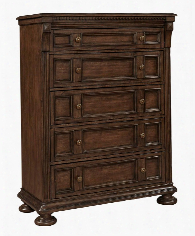 "Lyla 4912-240 43"" Wide 5-drawer Chest With Cedar Lined Bottom Drawer Gold Finished Hardware And Framed Moldings In"