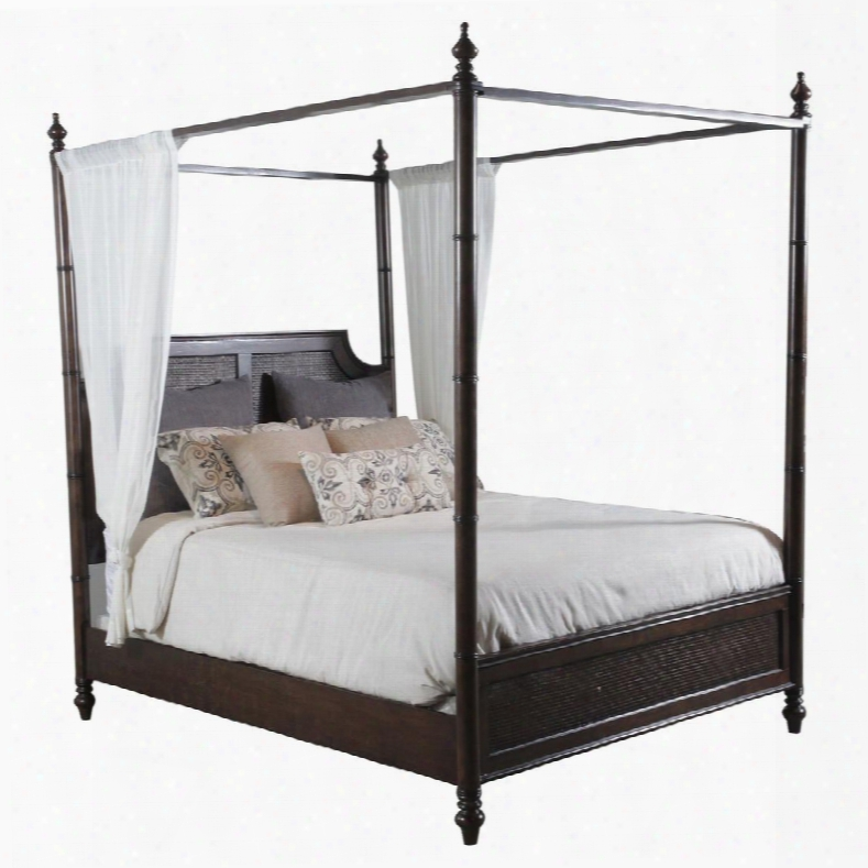 "Passages Collection 14bo7024kcnc 89"" King Canopy Bed Cane With Turned Legs Headboard & Footboard With Cane Centers And Spindle Posts In Akzo Nobel"