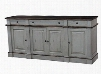 23751 Roosevelt Sideboard with 4 Doors 3 Drawers Molding Detail and Antique Oak Distressed Top and Trim in Charcoal