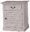 23935 Cottage Shutter Nightstand Cabinet with 1 Drawer 1 Door and Decorative Metal Hardware in White Distressed