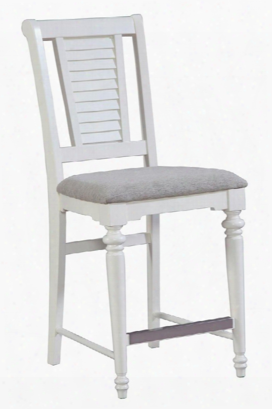 "Seabrooke 4471-591 24"" High Upholstered Counter Stool With Louvered Details On The Back Metal Stretcher Cap And Fabric Seat Cushion In Cream"