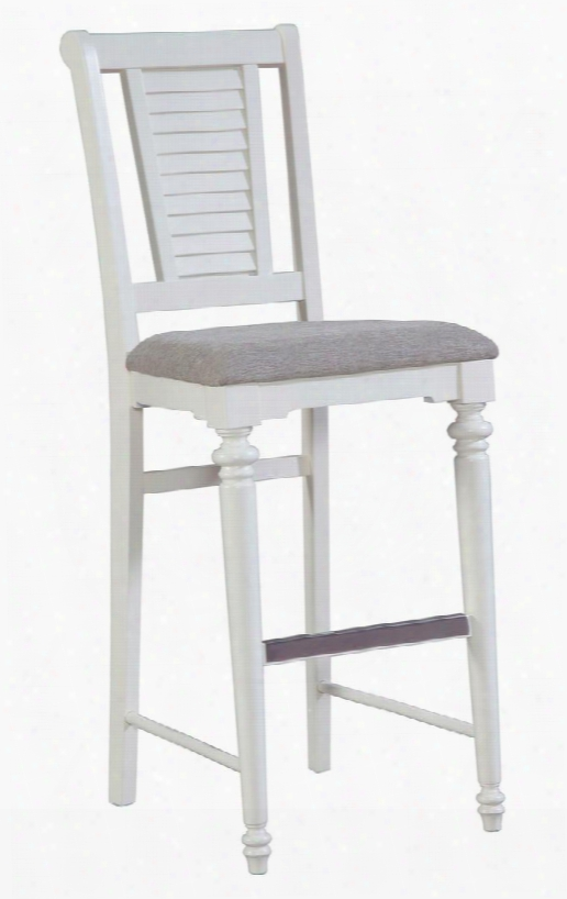 """Seabrrooke 4471-593 30"""" High Upholstered Bar Stool With Louvered Detils On The Back Metal Stretcher  Cap An Fabric Seat Cushion In Cream"""