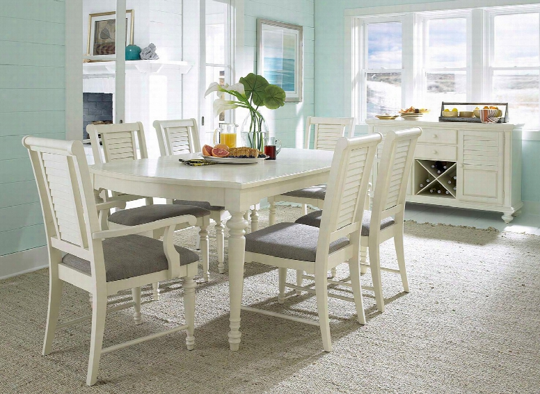 Seabrooke 4471dt2ac4scs 8-piece Dining Room Set With Leg Dining Table 2 Arm Chairs 4 Side Chairs And Server In Cream