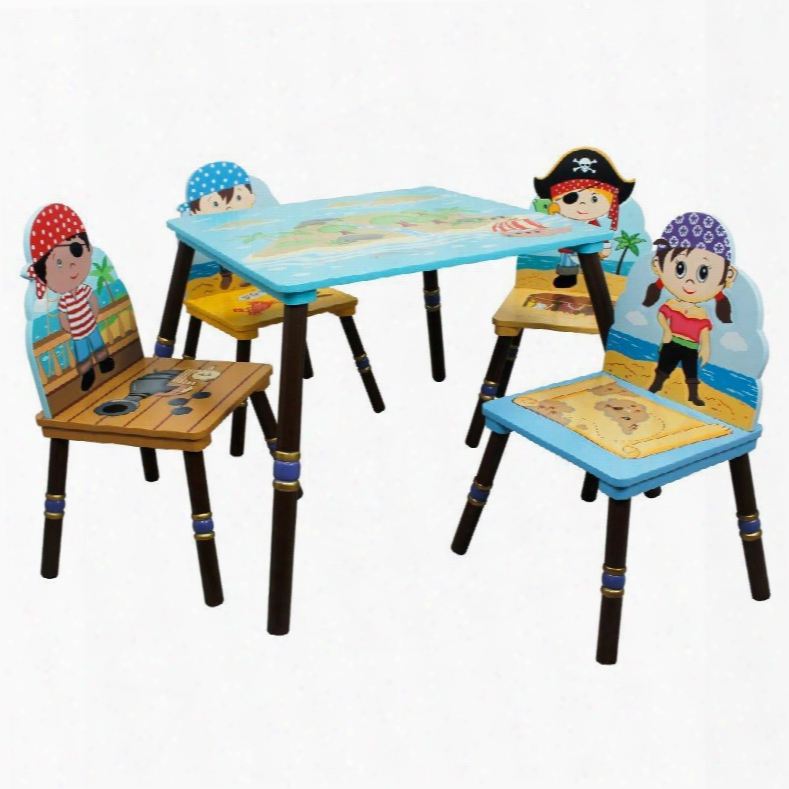 Td-11593s-ab Fantasy Fields - Pirates Island Table & Set Of 4