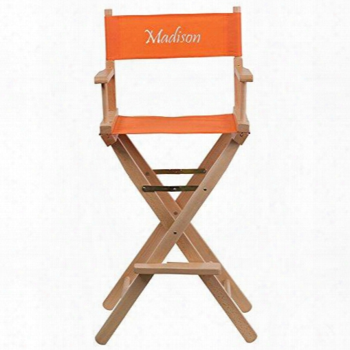Tyd01-or-emb-gg Embroidered Bar Height Directors Chair In