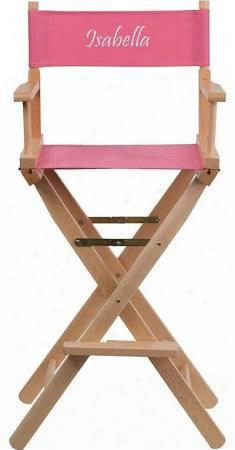 Tyd01-pk-emb-gg Embrooidered Bar Height Directors Chair In
