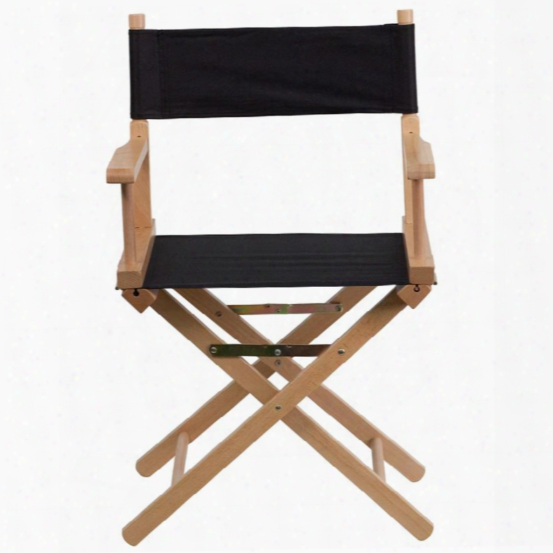 """Tyd02-bk-gg 33.25""""adult Director's Chair With Removble Covers Arms Cross Legs Beechwood Frame Portable Design Canvas Seat And Back Cover In Black"""